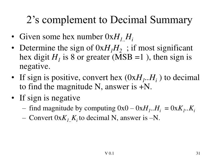 2's complement to Decimal Summary