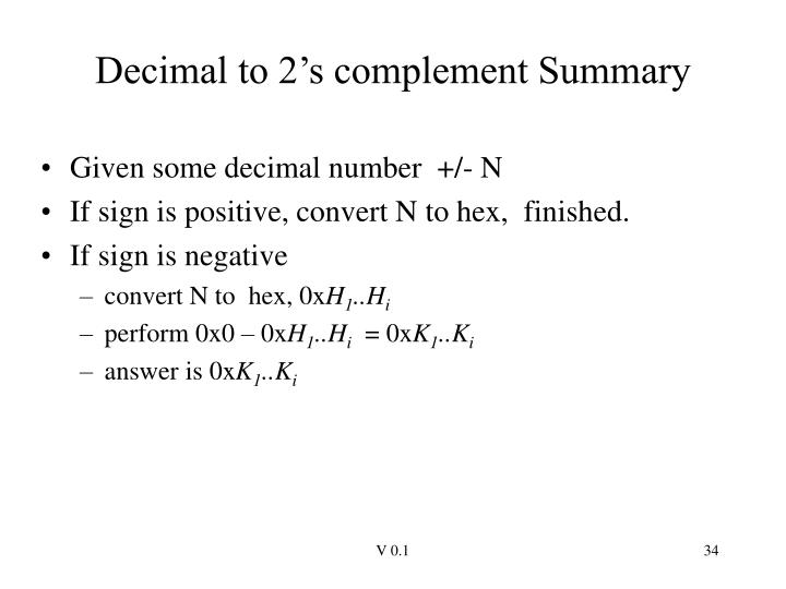 Decimal to 2's complement Summary