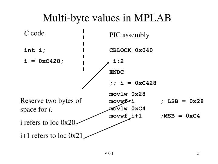 Multi-byte values in MPLAB