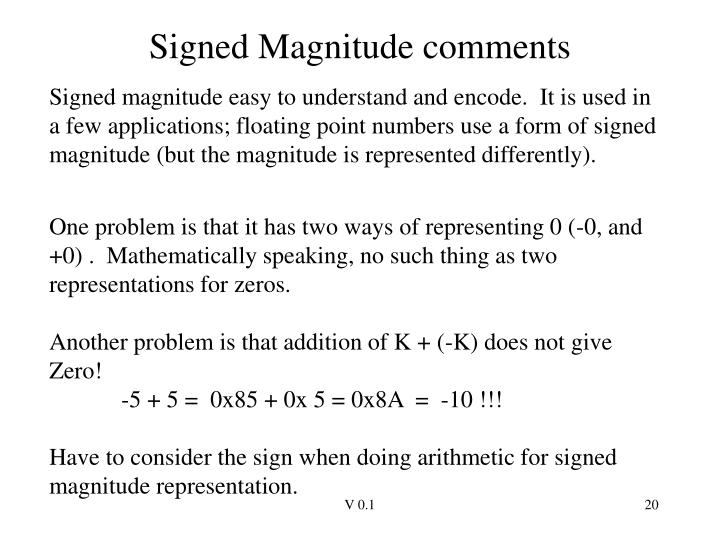 Signed Magnitude comments