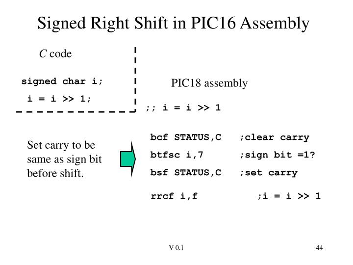 Signed Right Shift in PIC16 Assembly