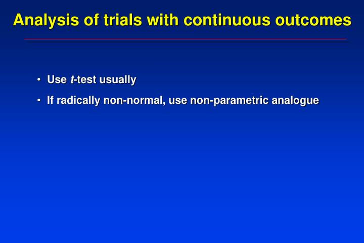 Analysis of trials with continuous outcomes