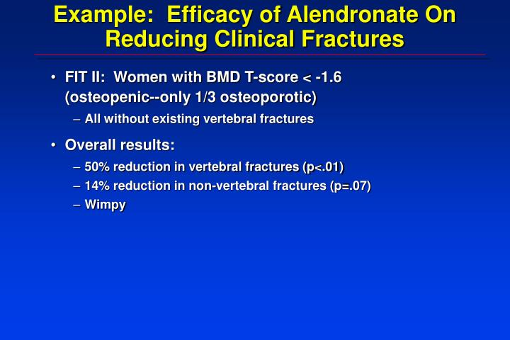 Example:  Efficacy of Alendronate On Reducing Clinical Fractures