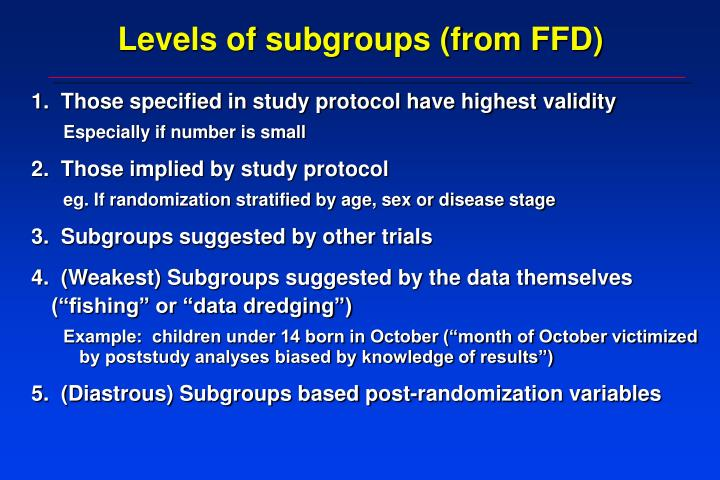 Levels of subgroups (from FFD)