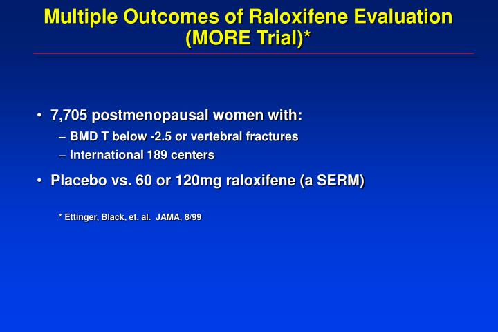 Multiple Outcomes of Raloxifene Evaluation (MORE Trial)*