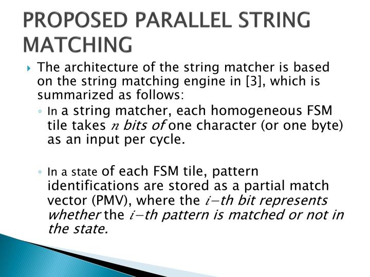 PROPOSED PARALLEL STRING