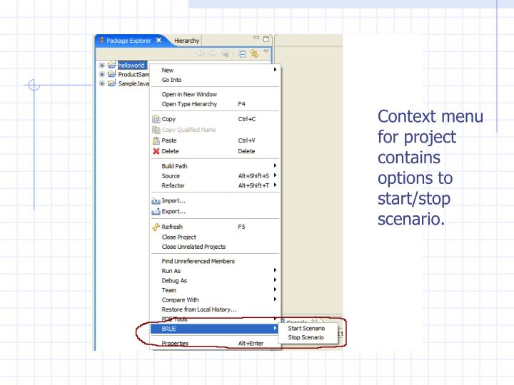 Context menu for project contains options to start/stop scenario.