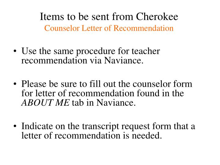 Items to be sent from Cherokee