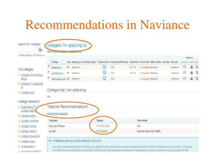 Recommendations in Naviance