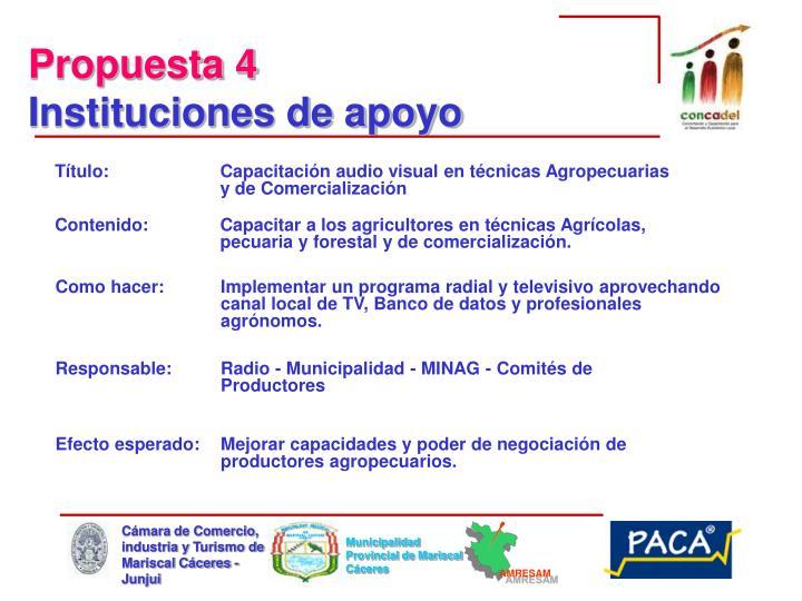 Título: Capacitación audio visual en técnicas Agropecuarias y de Comercialización