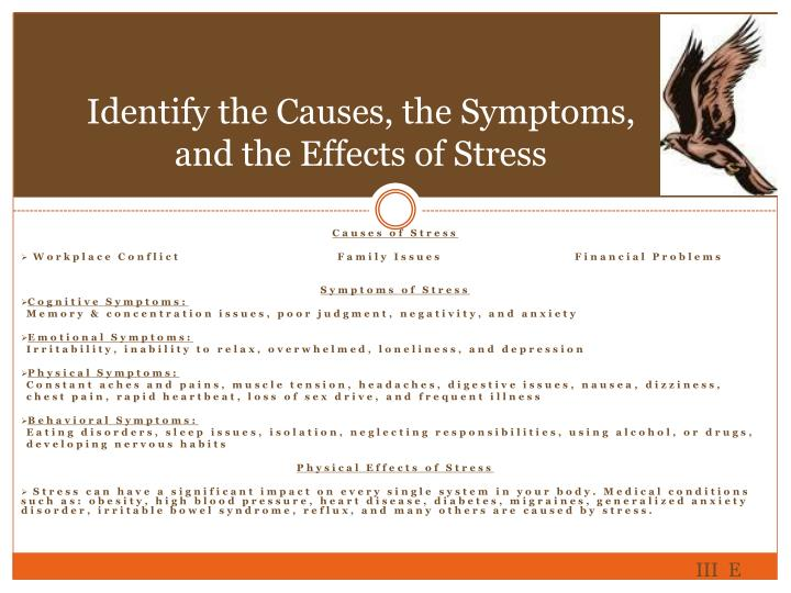Identify the Causes, the Symptoms, and the Effects of Stress