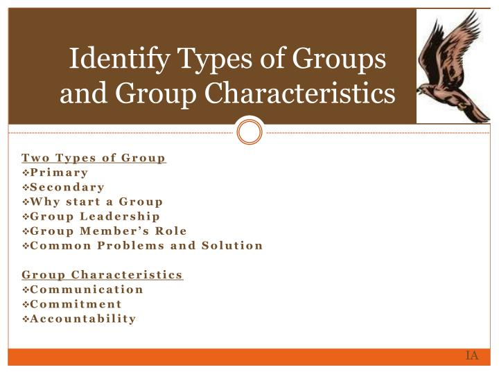 Identify Types of Groups and Group Characteristics