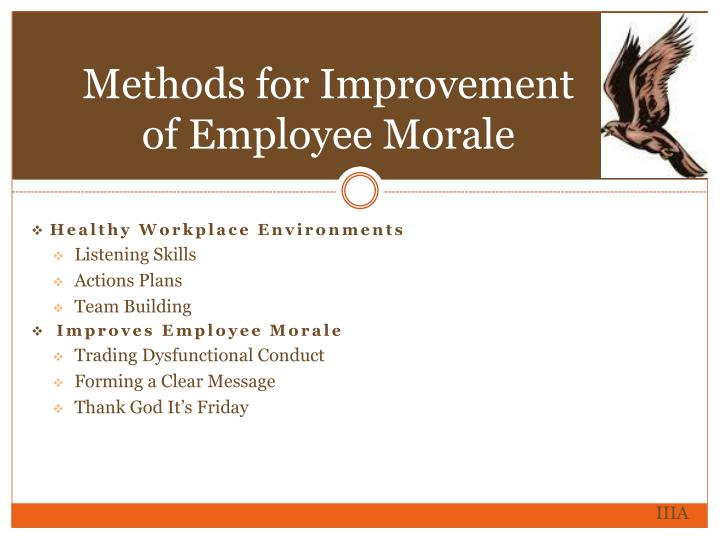 Methods for Improvement of Employee Morale