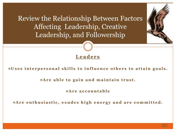 Review the Relationship Between Factors  Affecting  Leadership, Creative Leadership, and Followership