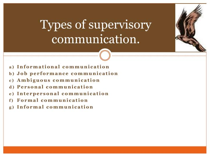 Types of supervisory communication.