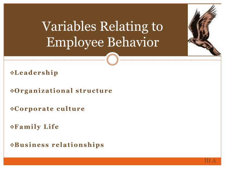 Variables Relating to Employee Behavior