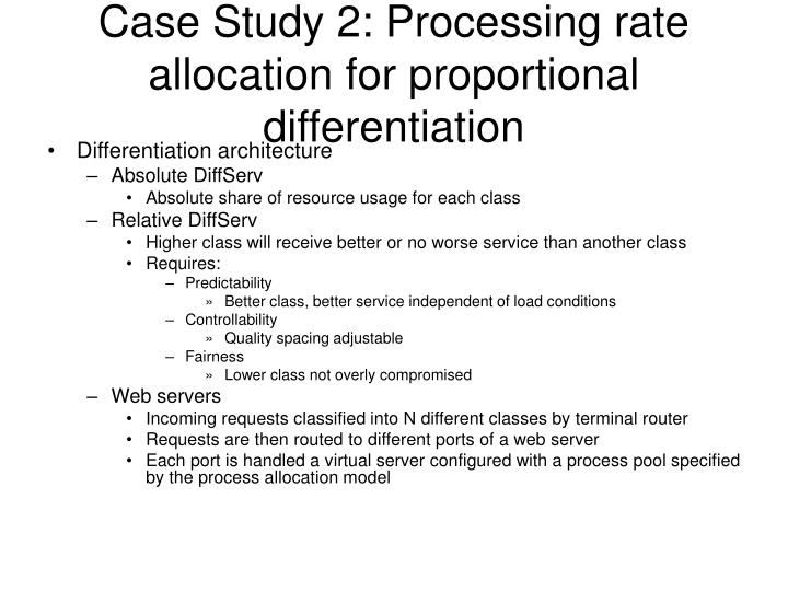 Case Study 2: Processing rate allocation for proportional differentiation