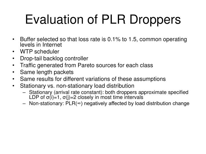 Evaluation of PLR Droppers