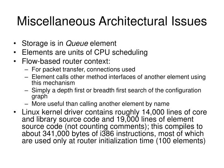Miscellaneous Architectural Issues