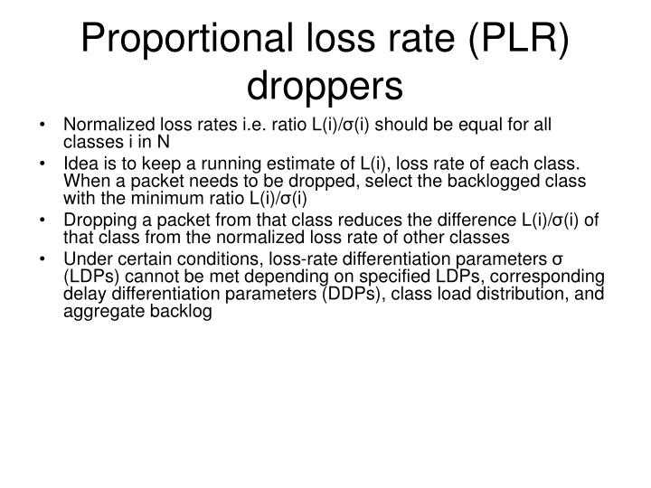 Proportional loss rate (PLR) droppers