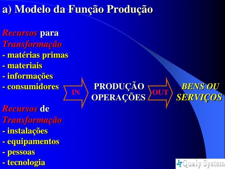 a) Modelo da Função Produção