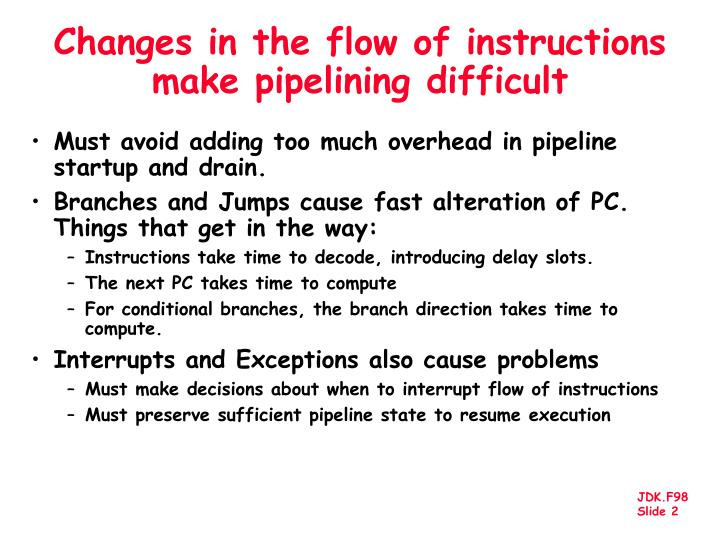 Changes in the flow of instructions make pipelining difficult