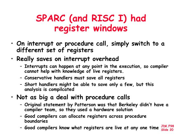 SPARC (and RISC I) had register windows