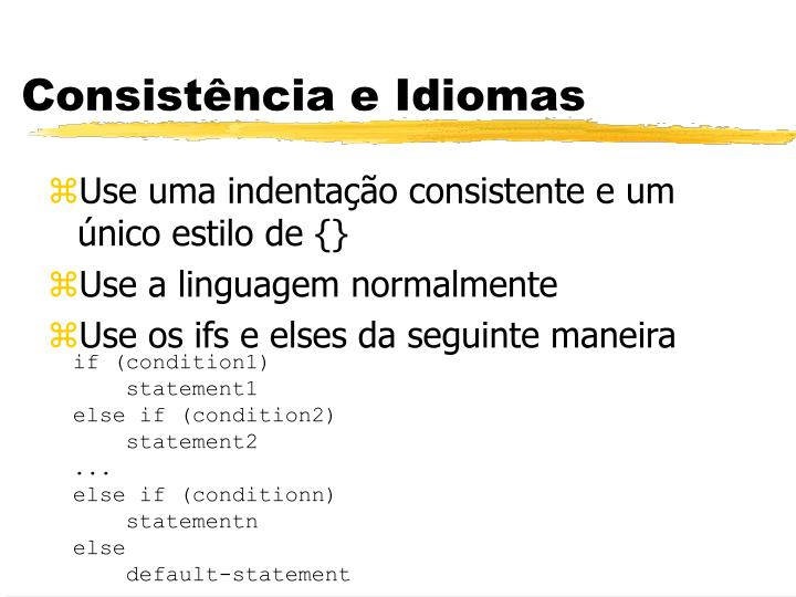 Consistência e Idiomas