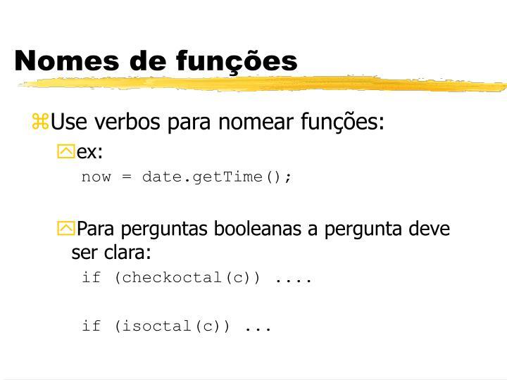 Nomes de funções