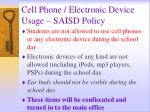 cell phone electronic device usage saisd policy