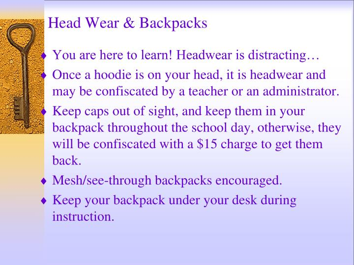 Head Wear & Backpacks