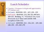lunch schedules