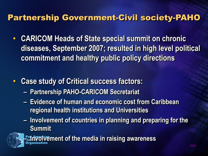 Partnership Government-Civil society-PAHO