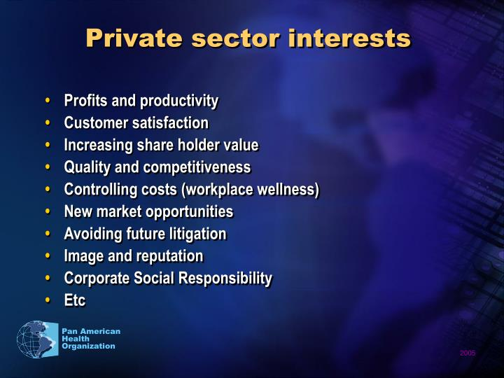 Private sector interests