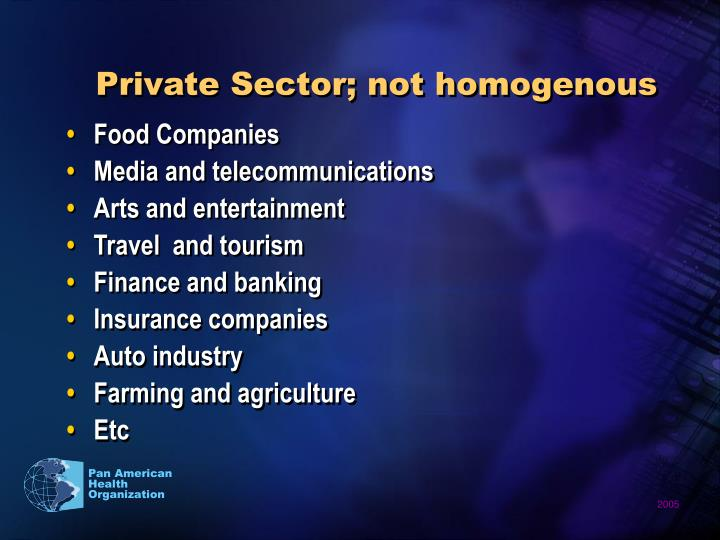 Private Sector; not homogenous