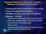 regional partners forum for chronic disease prevention and control