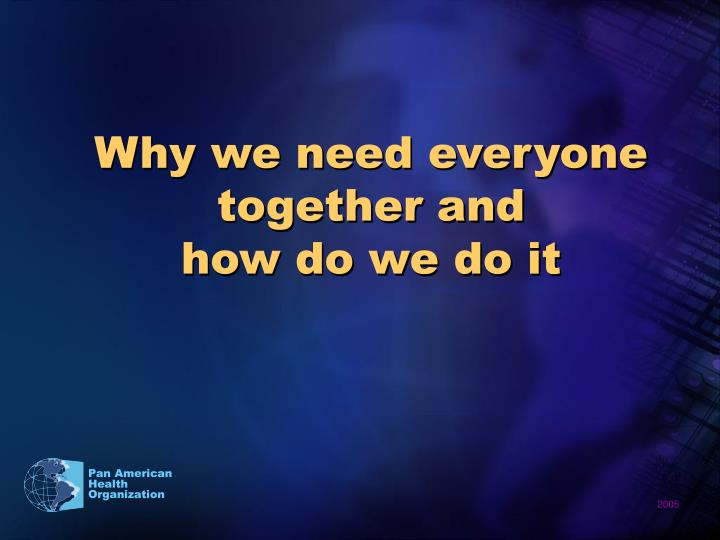 Why we need everyone together and               how do we do it