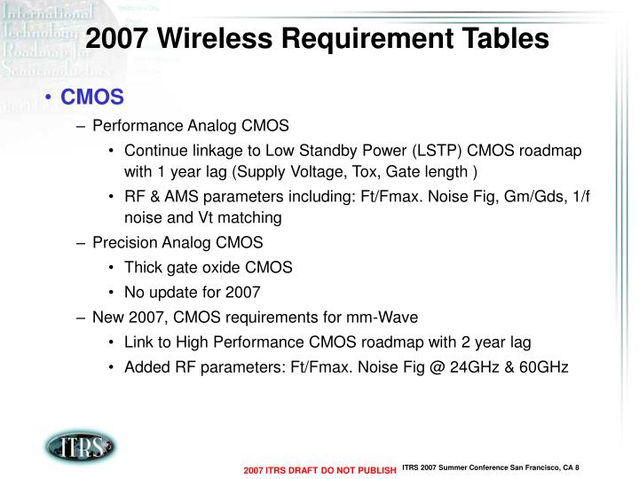 2007 Wireless Requirement Tables