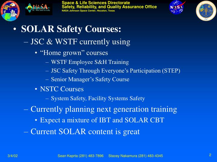 SOLAR Safety Courses: