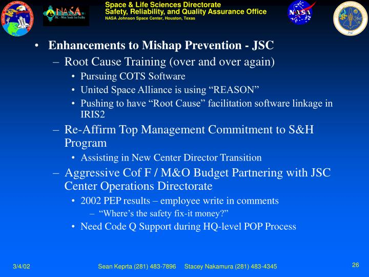 Enhancements to Mishap Prevention - JSC