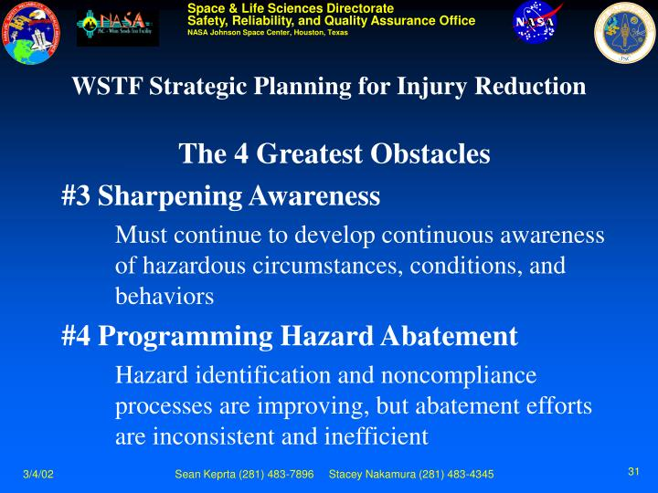 WSTF Strategic Planning for Injury Reduction
