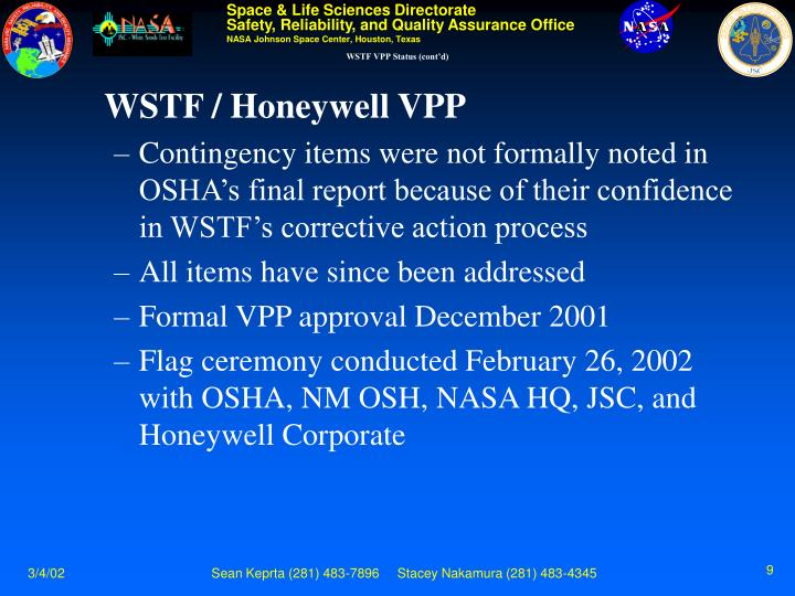 WSTF VPP Status (cont'd)