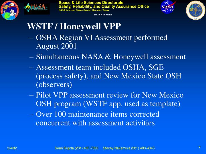 WSTF VPP Status