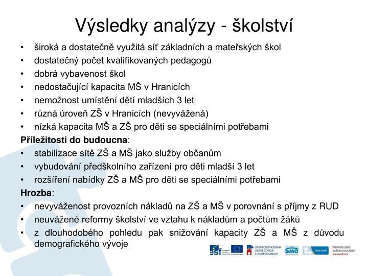 Výsledky analýzy - školství