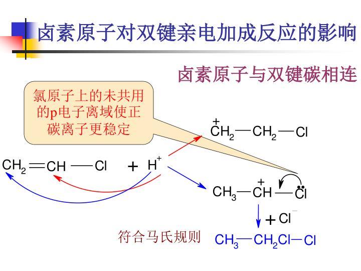 卤素原子对双键亲电加成反应的影响