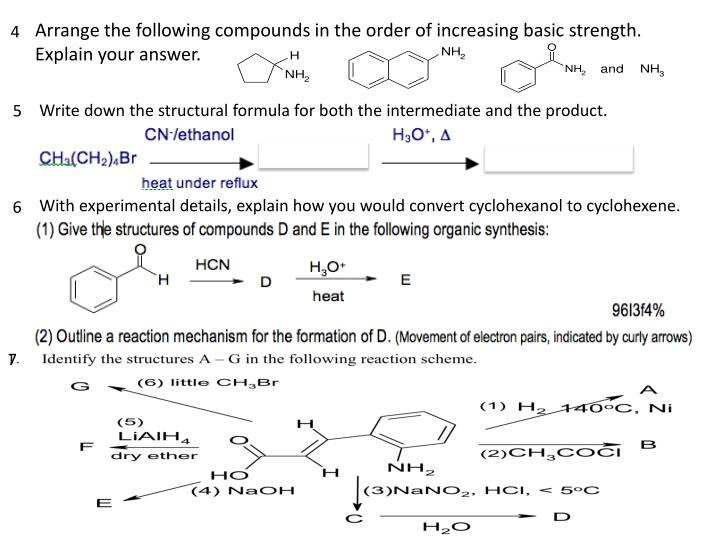 Arrange the following compounds in the order of increasing basic strength. Explain your answer.