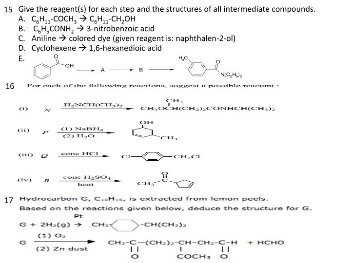 Give the reagent(s) for each step and the structures of all intermediate compounds.