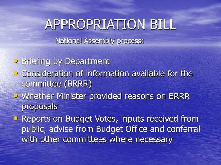 APPROPRIATION BILL