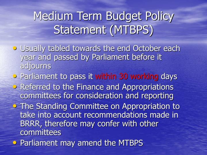 Medium Term Budget Policy Statement (MTBPS)