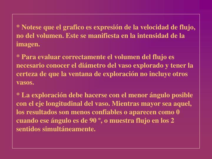 * Notese que el grafico es expresión de la velocidad de flujo, no del volumen. Este se manifiesta en la intensidad de la imagen.